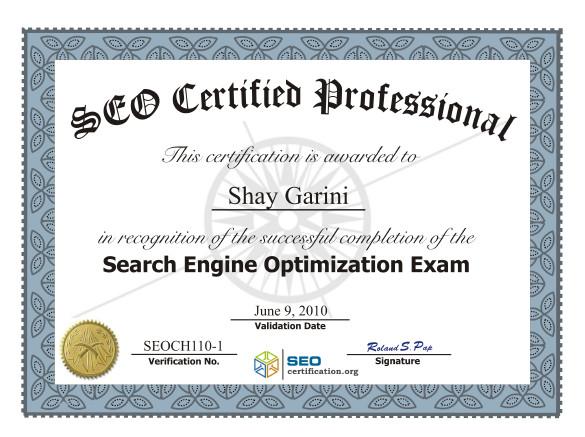 seo certificate professional certified certification logic shay tweet